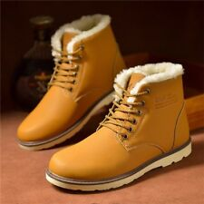 Winter Warm Men PU Leather Snow Ski Ankle Boots Lace Up Casual High Top Shoes