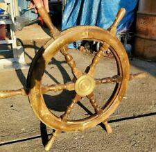 """VINTAGE BOAT / SHIP'S STEERING WHEEL WOOD & BRASS 30"""" DIAMETER 6 SPOKES /HANDLES"""