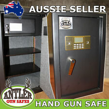 HAND GUN SAFE, DIGITAL LOCKING SYSTEM WITH KEY OVER RIDE & SHELVES