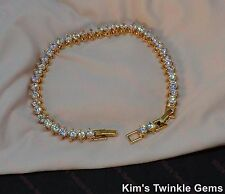 Lovely 18k/18ct Yellow gold filled Tennis Bracelet Made With Swarovski Crystal
