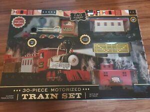 New FAO Schwarz 30-Piece Classic Motorized Train Set Sound Lights 18 Foot Track