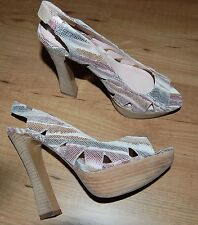 2ce95af5f31c Audrey Brooke Angela Reptile Animal Print Leather Platform Pumps Size 8M