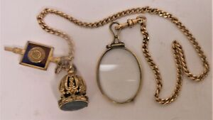 Great Victorian Gold Filled Pocket Watch Chain & Fob With Intaglio Seal