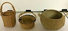 """Lot 3 handmade tiny small baskets, handles, woven, straw/grass vintage 2 to 3.5"""""""