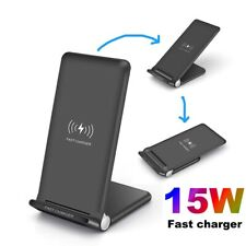 US 15W Qi Wireless Charger Charging Dock Stand For iPhone 11 XS Samsung S20 S10
