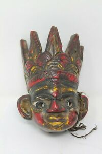 Antique Old Hand Carved Asia Wooden Colorful Mask Wall Hanging NH6597