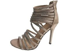 Sparkly Black Silver Gold Strappy High Heel Evening Party Sandals Size 3- 8