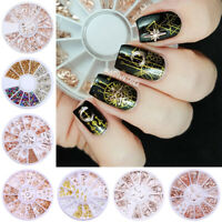 Nail Rhinestones Metal Rivet Beads Mixed Size 3D Nail Art Decoration in Wheel