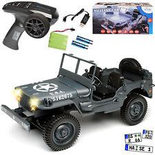 JEEP WILLYS Camion Gris USA Army 2. guerre mondiale 2,4 GHz RC funkauto avec éclairage