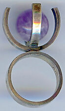 SIGNED SCANDINAVIAN ULTRA COOL VINTAGE STERLING SILVER AMETHYST MODERNIST RING