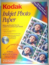 "KODAK INKJET PHOTO PAPER for 90 wallets (6 per sheet) 8.5""x11"" on home printer"
