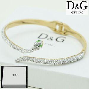 """DG Women's 6.5"""" Gold Stainless-Steel Snake CZ,Eternity Bangle Bracelet*BOX"""
