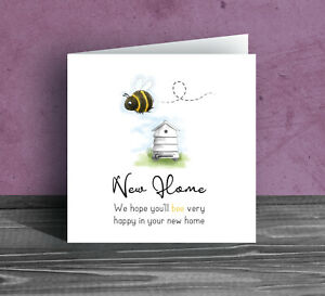NEW HOME GREETINGS CARD ~ Bumble Bee Moving house warming flat leaving funny N1