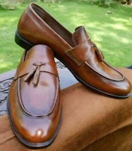 Loafers Mens Real Leather Brown Handmade with Tassels