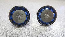 Natural Diamond Cufflinks 14k Make Offer Art Deco Synthetic Blue Sapphire &