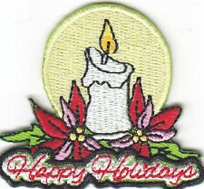 """HAPPY HOLIDAYS"" PATCH-Iron On Embroidered Applique/Christmas, Holiday, Decor"