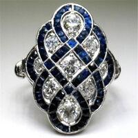 Fashion 925 Silver Sapphire & White Topaz Women Wedding Jewelry Ring Size 6-10