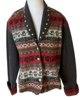 New Frontier Clothing Womens Southwest Sweater Jacket Brown Red Studded Medium