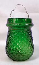 Victorian Christmas Oil Light Candle Fairy Green Glass Diamond Quilted Antique 1