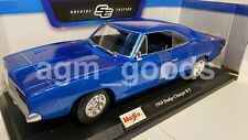 Maisto 1:18 Scale - Dodge Charger RT 1969 - Blue - Diecast Model Car