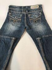 Rock Revival For Buckle Women's Jeans Elaina Easy Boot Flap Pocket Bling 29