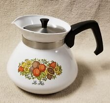 CORNING WARE SPICE OF LIFE 6 Cup Teapot Pot Kettle P104 w/ Stainless Steel Lid