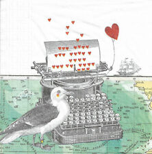 Lot de 2 Serviettes en papier Lettre d'amour Mouette Decoupage Collage Decopatch