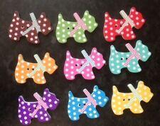 10 Botones Madera Lunares perro Costura Álbum de recortes elaboración de Tarjetas artesanal Embelishments