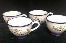 4 Blue Sky Ceramic Les Petite Sardines Fish Coffee Mug 16 Oz. (Sh11)
