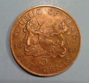 Kenya 5 Cents coin 1980