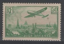 "FRANCE STAMP AERIEN 14 "" AVION SURVOLANT PARIS 50F VERT JAUNE "" NEUF xx TB  N609"