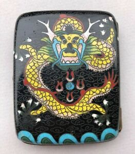 Cloissone Enameled Case Brass Cigarette Case Chinese Dragon Design