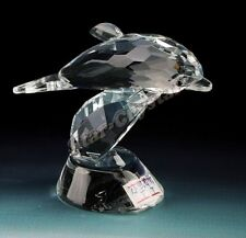 Crystal CLEAR dolphin on wave ornament boxed lovely gift new