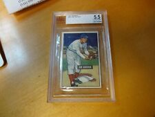 1951 Bowman Joe Adcock Cincinnati Card #323 BVG 5.5 Excellent+ Cert. #0007064844