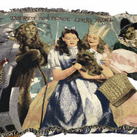 Vintage 1997 Afghan Throw Blanket Wizard of Oz Tapestry Wall Hanging 71x54