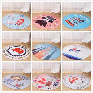 Lovely Cartoon Animal Round Floor Mat Kids Bedroom Carpet Living Room Area Rug