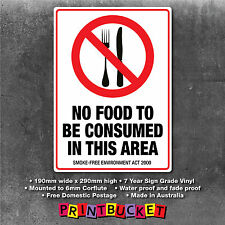 No food to be consumed Sign smoke free act compliant water/fade proof