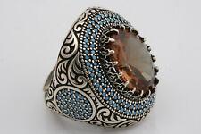 Turkish Handmade NEW 925 Sterling Silver Topaz Zultanite Stone Mens Ring Size 11