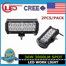 2PCS 36W CREE LED LIGHT BAR 3000LM SPOT BEAM DRIVING  VEHICLES 4X4 SUV PODS BOAT