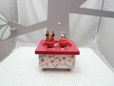 Trousselier boite à musique bois peint manège coccinelles rouges 13 cmx 8 cm env