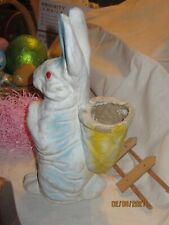 """Vintage Paper Mache Pulp Easter Rabbit Candy Container w/Basket on Back 11"""""""