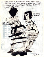 Two Original Pen and Ink Drawings Contemporary French Art Paris Neal Turner NR