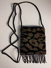 Black and Gold Beaded Fringed Pocket Purse with Zipper, Black Rayon Lining