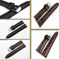 Colors Buckle New Brown Or Black Band Tang Genuine Leather Watch Strap