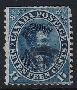 CANADA QV Stamp SG.42 17c/8d Blue CARTIER (1859) used