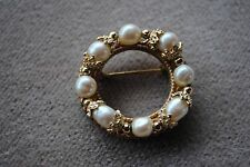 Vintage Miriam Haskell Circle Wreath Filigree Baroque Pearl Brooch Gold Tone