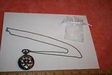 NOS Spinning Flower Case Quartz Pocket Watch Pendant Necklace Working