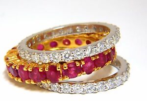 Stackable Ruby Diamonds eternity Ring 14kt Natural Vivid Reds Stacking 7.42ct+