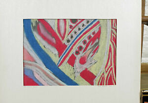 ab €1 James Montoya Pastell Gemälde 1974 abstrakte Komposition The Colored Space