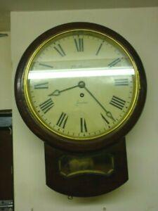 Restored Antique Mahogany Fusee Drop Dial Wall Clock Signed J W Benson